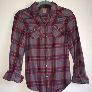 Maroon and navy women's flannel, size small